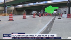 South Street now a one-way road in Downtown Orlando