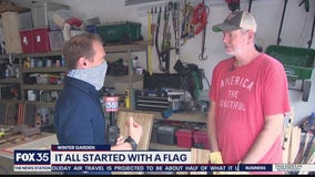 Former Disney employee constructs wooden flags