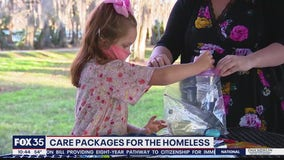 Girl, 7, creates care packages for the homeless
