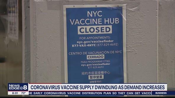 Coronavirus vaccine supply dwindling as demand increases