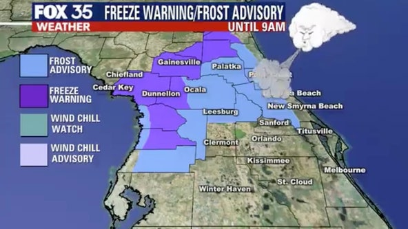 Freeze warning, frost advisory in effect for parts of Central Florida
