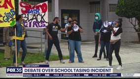 Groups rally outside Lake School Board after student is tased by resource deputy