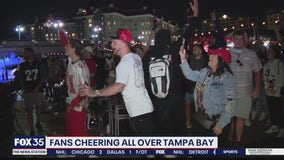 Bucs fans cheering all over Tampa Bay