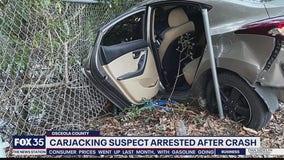Carjacking suspect arrested after crash