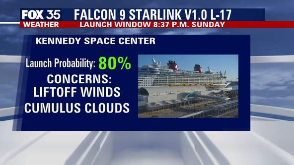 Weather looking good for Sunday's SpaceX launch