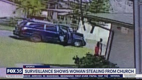 Video shows woman stealing from church cash donation box, police say