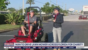 Man drives lawn mower across Florida for charity