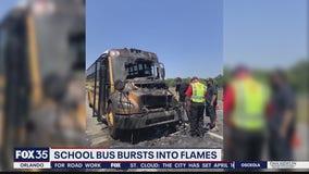 School bus burst into flames on highway, troopers say