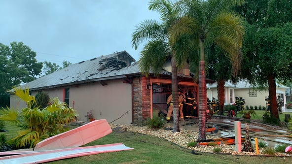 Fire breaks out at Mount Dora home after lightning strike, fire department says