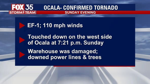 Powerful EF-1 tornado strikes near Ocala, according to NWS