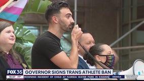 Protests after DeSantis signs bill on transgender athletes