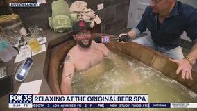 Relaxing at the original beer spa