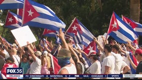 Protesters call for U.S. intervention in Cuba