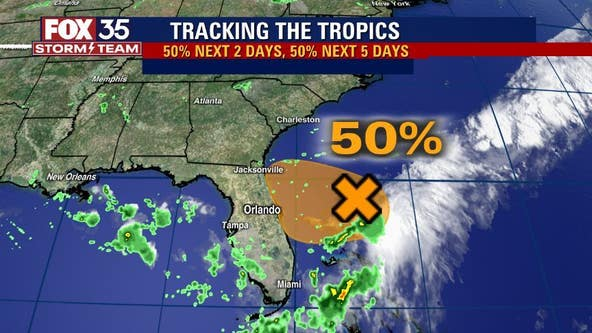 Forecasters drop odds of development to 50% for system near Florida