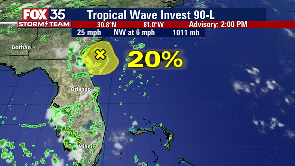 Low-pressure system off Florida coast lifts north
