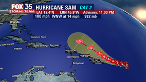 NHC: Hurricane Sam grows into Cat 2 storm; additional strengthening expected