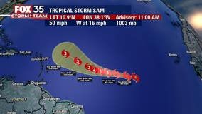 Tropical Storm Sam forms in the Atlantic, expected to become major hurricane